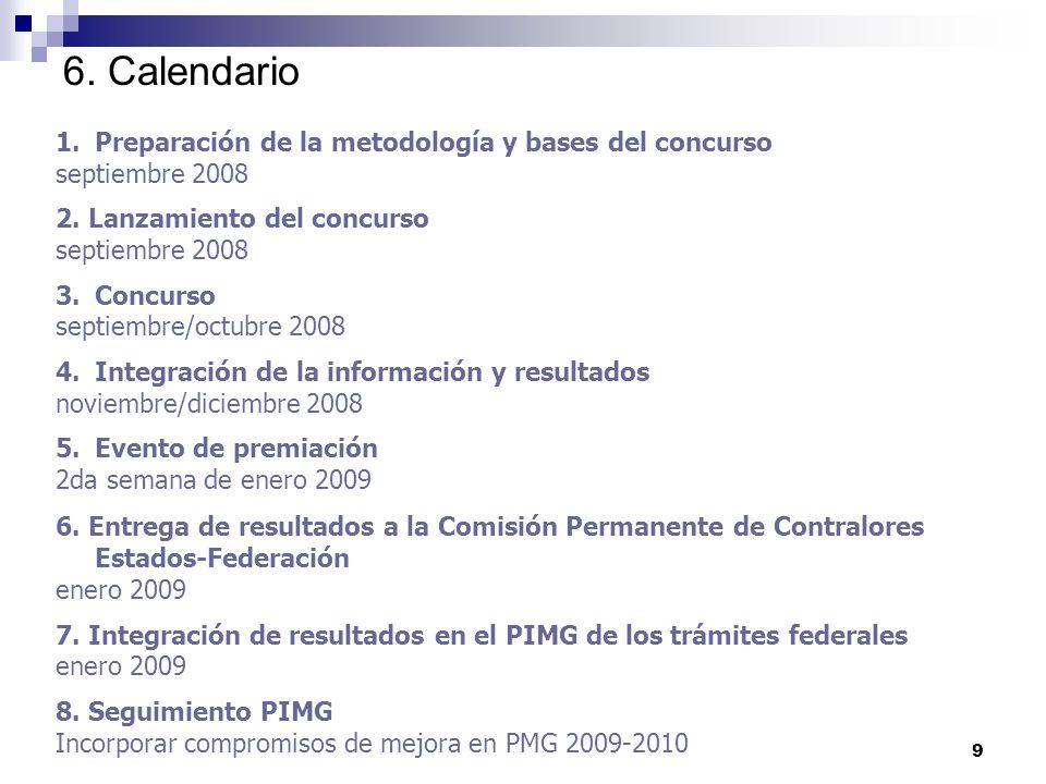 9 6. Calendario 1.Preparación de la metodología y bases del concurso septiembre 2008 2.