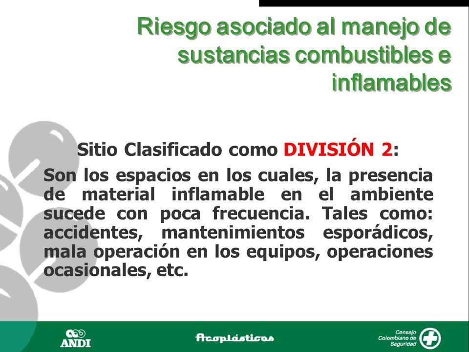 Riesgo asociado al manejo de sustancias combustibles e inflamables Sitio Clasificado como DIVISIÓN 2: Son los espacios en los cuales, la presencia de
