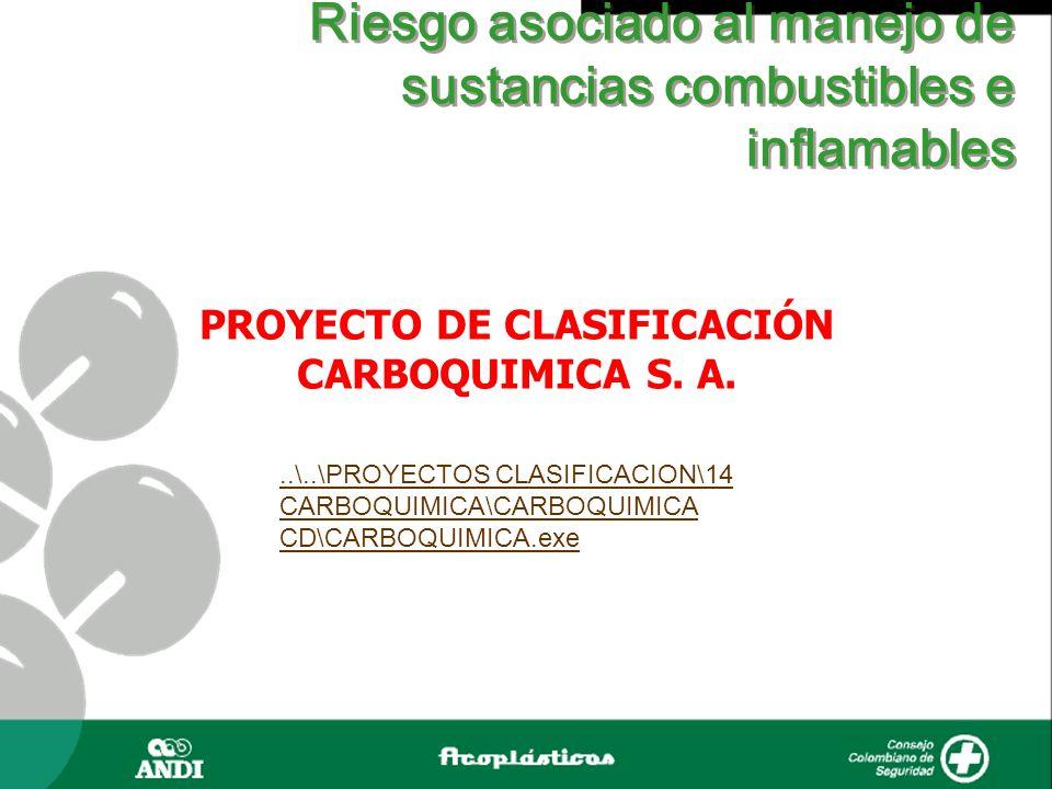 Riesgo asociado al manejo de sustancias combustibles e inflamables PROYECTO DE CLASIFICACIÓN CARBOQUIMICA S. A...\..\PROYECTOS CLASIFICACION\14 CARBOQ