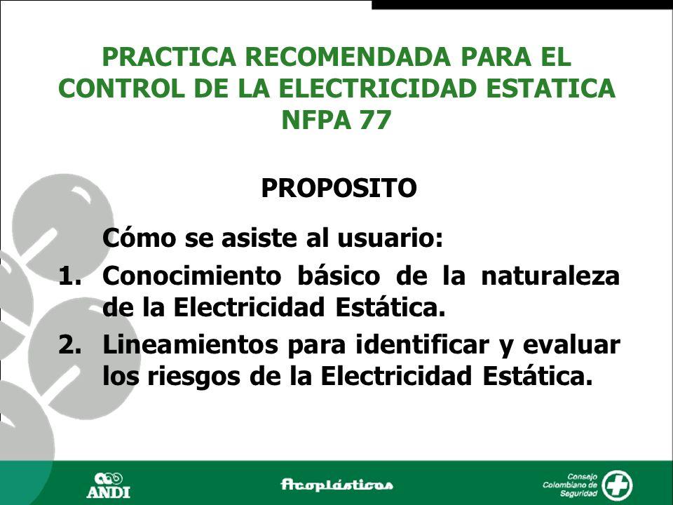 PROPOSITO Cómo se asiste al usuario: 1.Conocimiento básico de la naturaleza de la Electricidad Estática. 2.Lineamientos para identificar y evaluar los