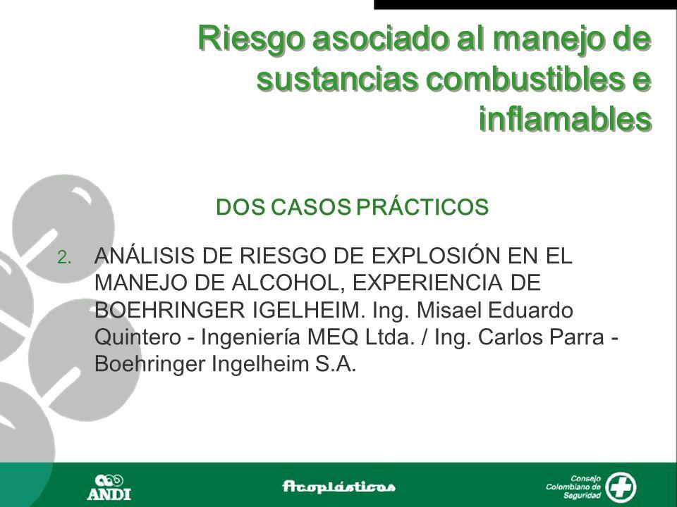 Riesgo asociado al manejo de sustancias combustibles e inflamables DOS CASOS PRÁCTICOS 2. ANÁLISIS DE RIESGO DE EXPLOSIÓN EN EL MANEJO DE ALCOHOL, EXP