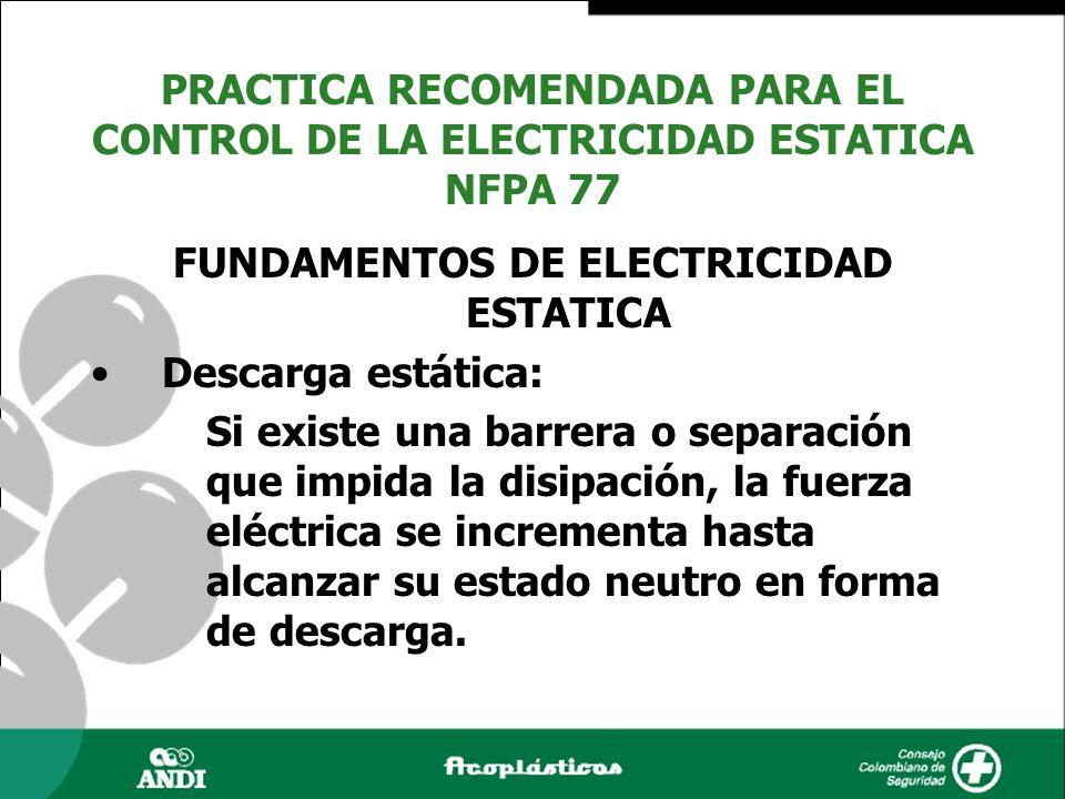 FUNDAMENTOS DE ELECTRICIDAD ESTATICA Descarga estática: Si existe una barrera o separación que impida la disipación, la fuerza eléctrica se incrementa