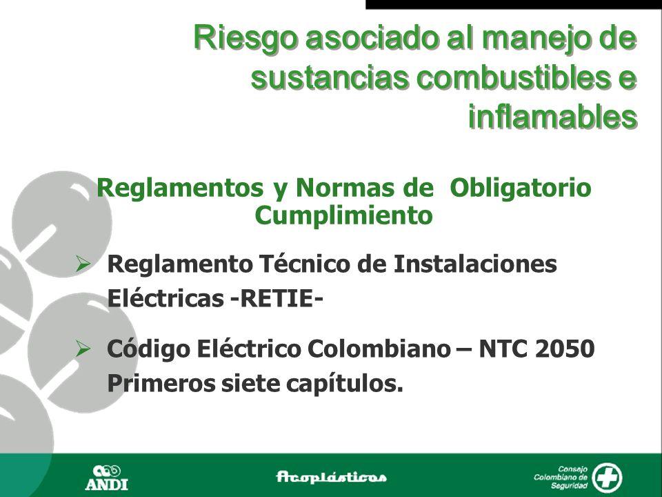 Riesgo asociado al manejo de sustancias combustibles e inflamables Reglamentos y Normas de Obligatorio Cumplimiento Reglamento Técnico de Instalacione