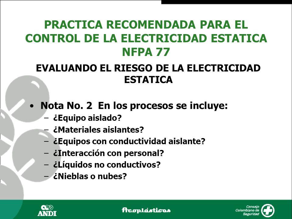 Nota No. 2 En los procesos se incluye: –¿Equipo aislado? –¿Materiales aislantes? –¿Equipos con conductividad aislante? –¿Interacción con personal? –¿L