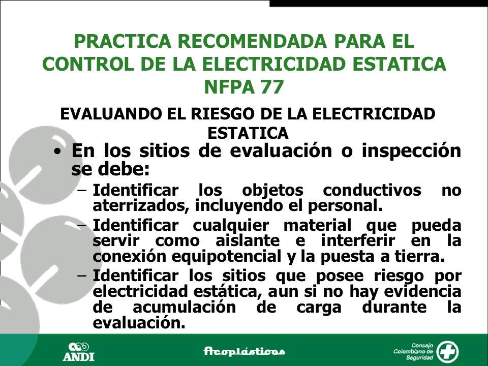En los sitios de evaluación o inspección se debe: –Identificar los objetos conductivos no aterrizados, incluyendo el personal. –Identificar cualquier