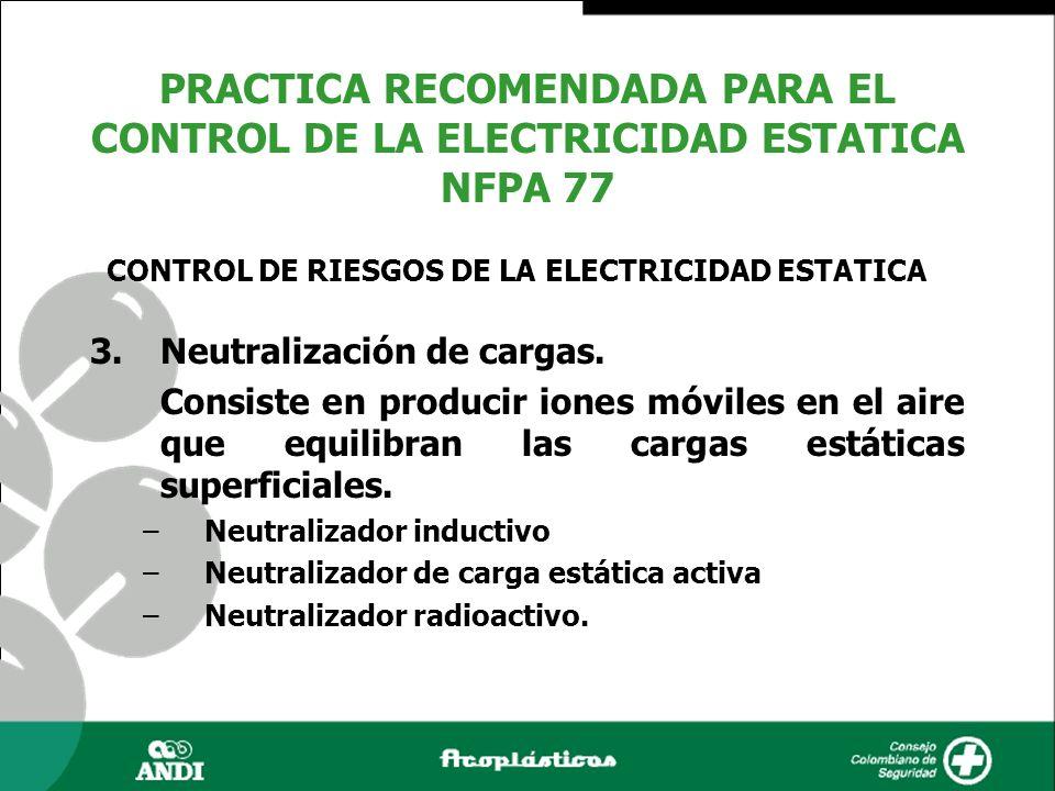 3.Neutralización de cargas. Consiste en producir iones móviles en el aire que equilibran las cargas estáticas superficiales. –Neutralizador inductivo
