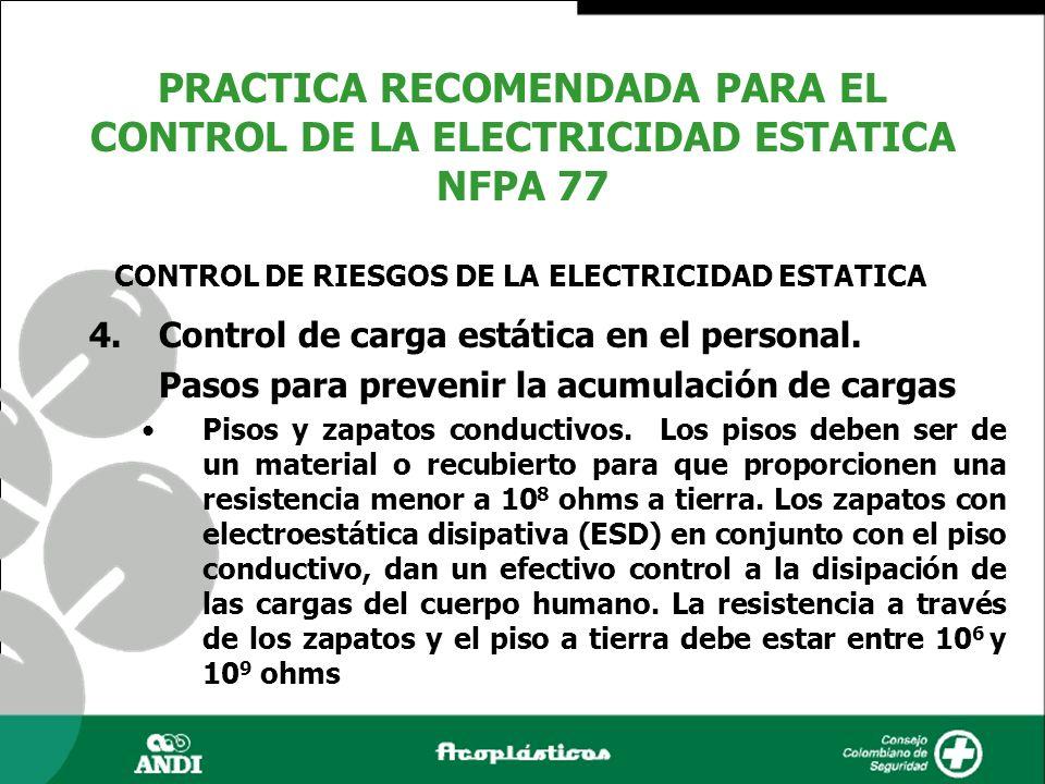4.Control de carga estática en el personal. Pasos para prevenir la acumulación de cargas Pisos y zapatos conductivos. Los pisos deben ser de un materi