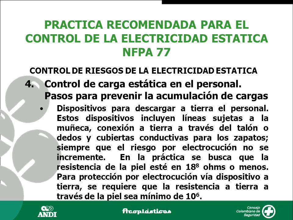 4.Control de carga estática en el personal. Pasos para prevenir la acumulación de cargas Dispositivos para descargar a tierra el personal. Estos dispo