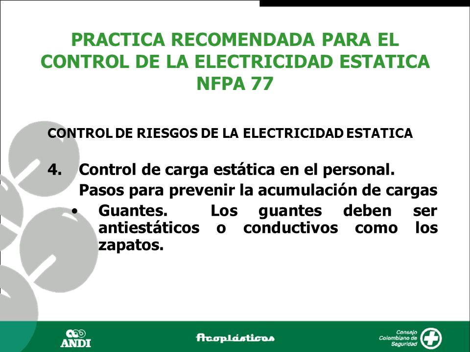4.Control de carga estática en el personal. Pasos para prevenir la acumulación de cargas Guantes. Los guantes deben ser antiestáticos o conductivos co