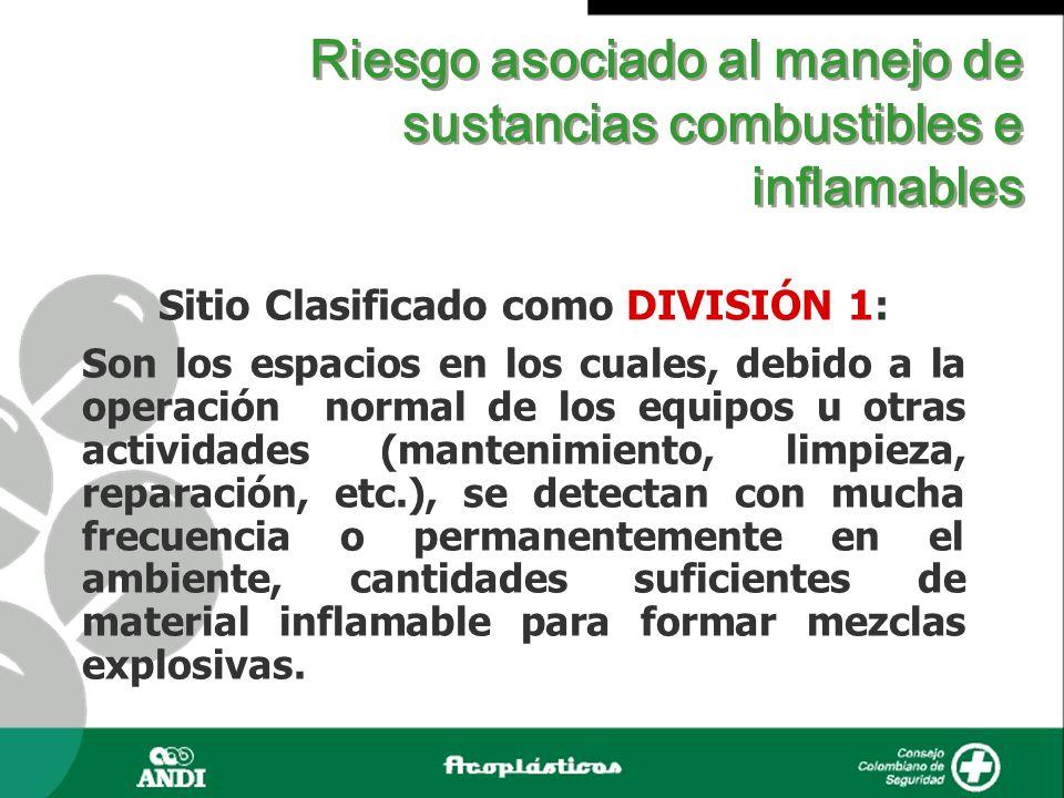 Riesgo asociado al manejo de sustancias combustibles e inflamables Sitio Clasificado como DIVISIÓN 1: Son los espacios en los cuales, debido a la oper