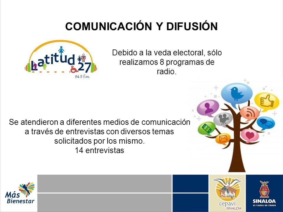 COMUNICACIÓN Y DIFUSIÓN Debido a la veda electoral, sólo realizamos 8 programas de radio. Se atendieron a diferentes medios de comunicación a través d