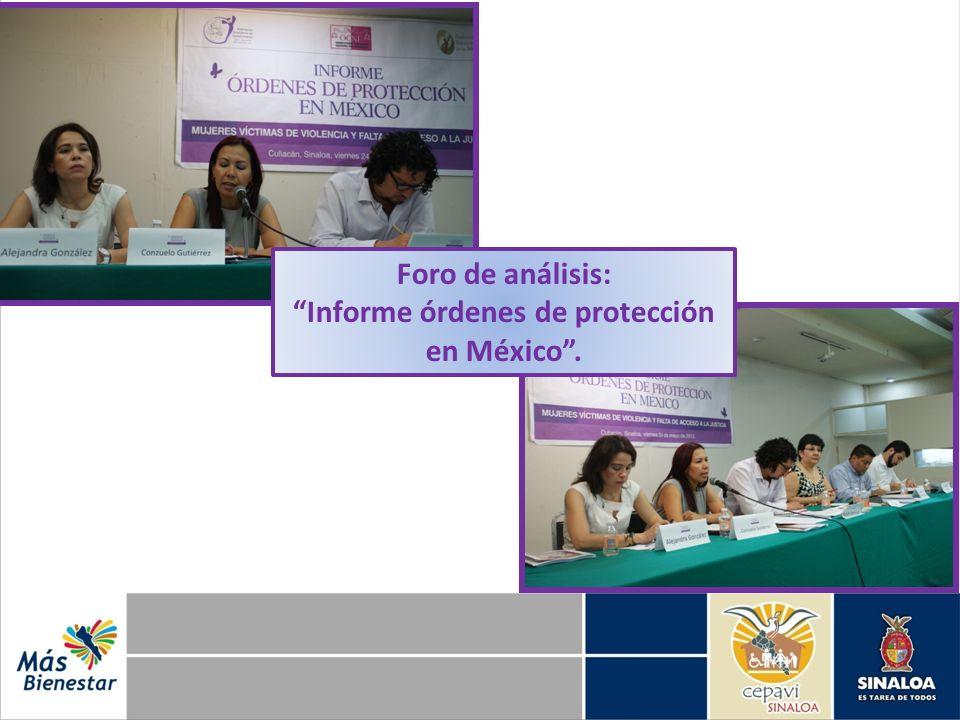 Foro de análisis: Informe órdenes de protección en México.