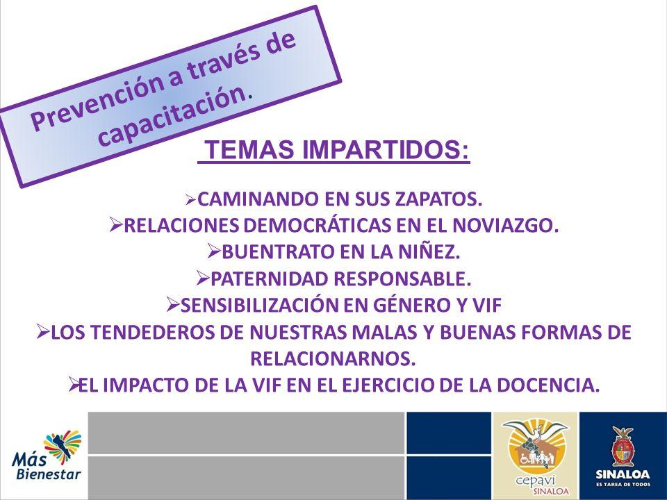 TEMAS IMPARTIDOS: CAMINANDO EN SUS ZAPATOS. RELACIONES DEMOCRÁTICAS EN EL NOVIAZGO. BUENTRATO EN LA NIÑEZ. PATERNIDAD RESPONSABLE. SENSIBILIZACIÓN EN