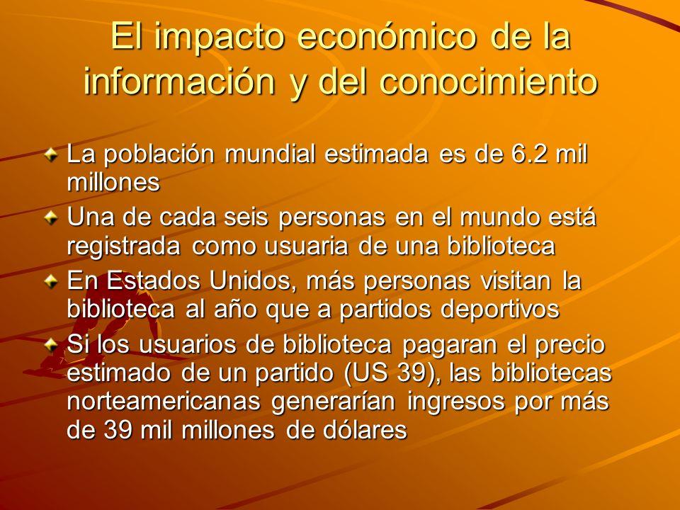El impacto económico de la información y del conocimiento La población mundial estimada es de 6.2 mil millones Una de cada seis personas en el mundo e
