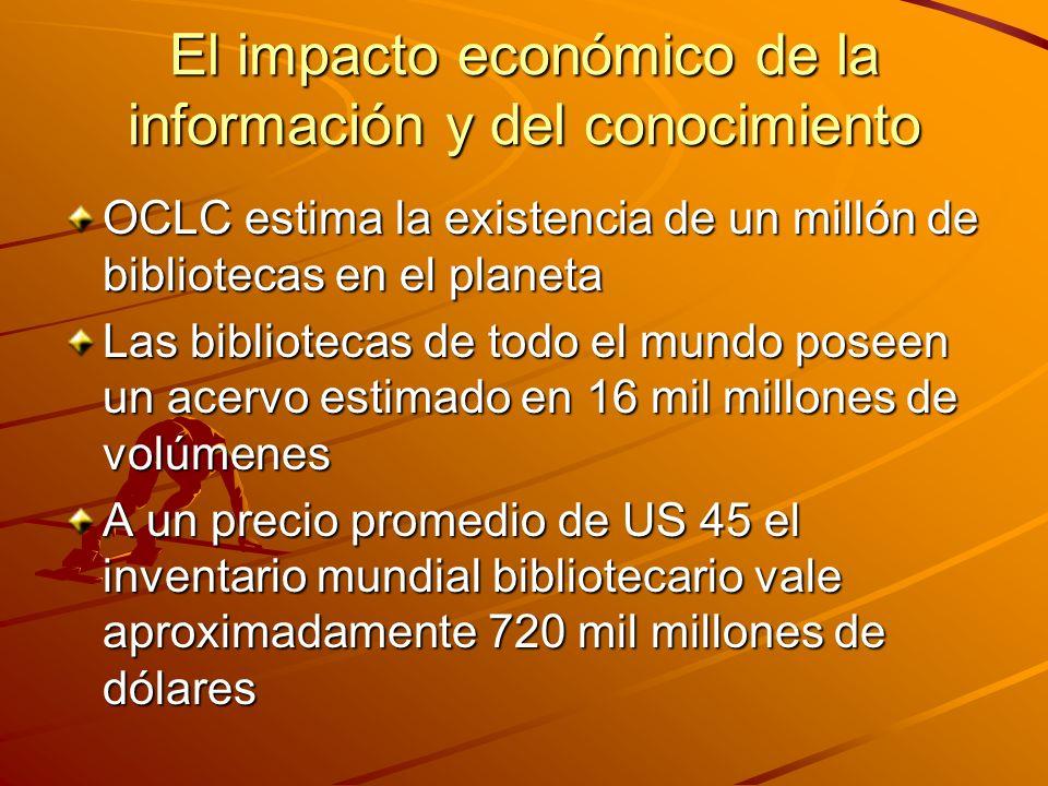 El impacto económico de la información y del conocimiento OCLC estima la existencia de un millón de bibliotecas en el planeta Las bibliotecas de todo el mundo poseen un acervo estimado en 16 mil millones de volúmenes A un precio promedio de US 45 el inventario mundial bibliotecario vale aproximadamente 720 mil millones de dólares