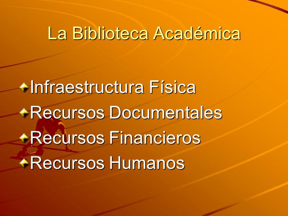 La Biblioteca Académica Infraestructura Física Recursos Documentales Recursos Financieros Recursos Humanos