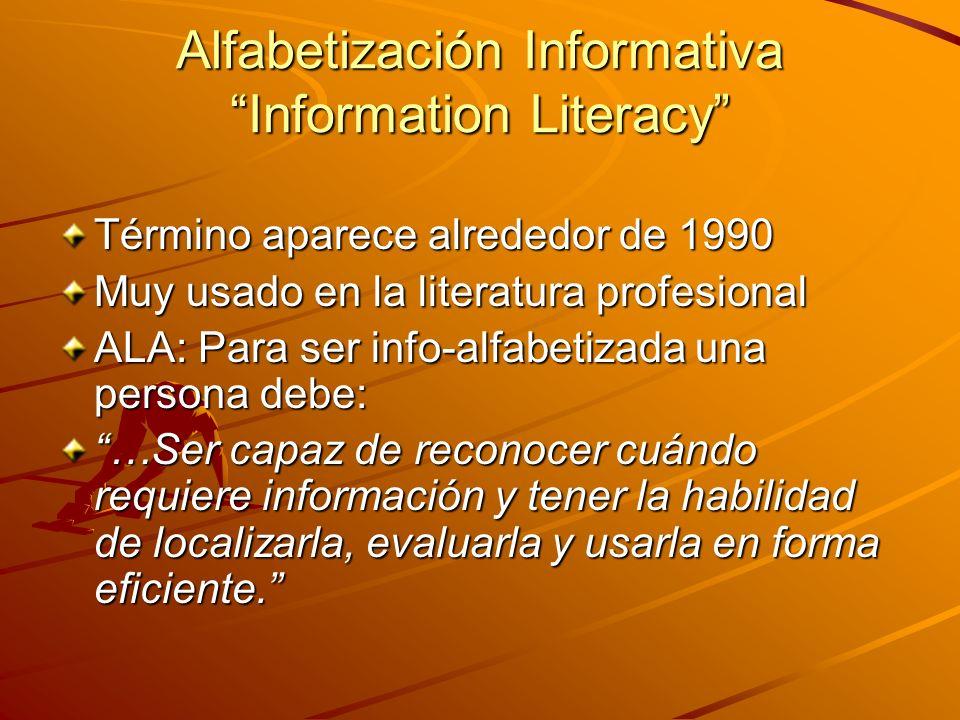 Alfabetización Informativa Information Literacy Término aparece alrededor de 1990 Muy usado en la literatura profesional ALA: Para ser info-alfabetizada una persona debe: …Ser capaz de reconocer cuándo requiere información y tener la habilidad de localizarla, evaluarla y usarla en forma eficiente.