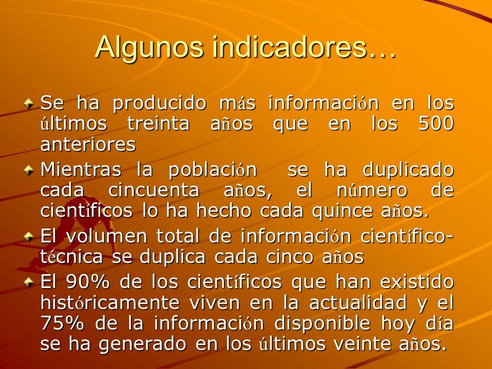 Algunos indicadores… Se ha producido m á s informaci ó n en los ú ltimos treinta a ñ os que en los 500 anteriores Mientras la poblaci ó n se ha duplic