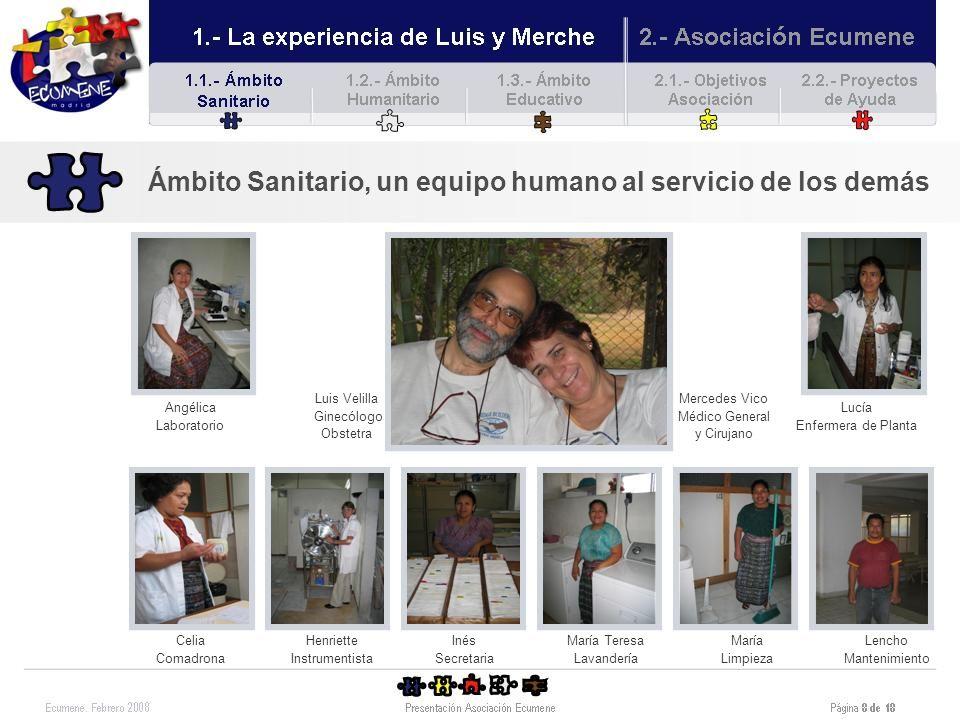 Ámbito Humanitario, para las necesidades básicas Durante los 12 de años de trabajo de Luis y Merche en Guatemala, y en paralelo a la asistencia sanitaria que han ido desarrollando, han tenido que hacer frente a los problemas del día a día de la gente a la que dan asistencia sanitaria.