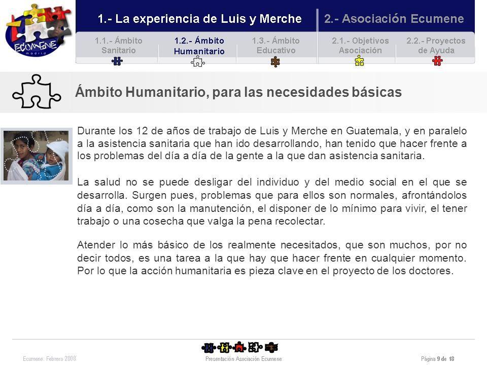 Ámbito Humanitario, para las necesidades básicas Un ejemplo fue el huracán Stan que asoló la región en 2005.