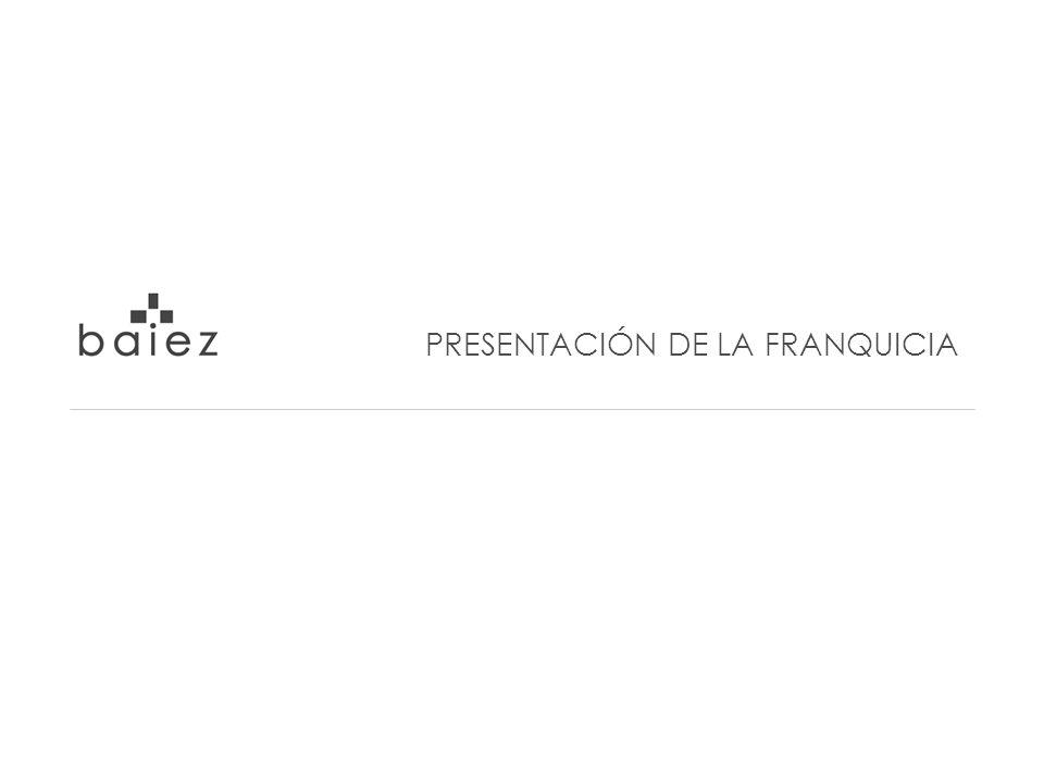 PRESENTACIÓN DE LA EMPRESA CONCEPTO DE NEGOCIO NUESTROS PRODUCTOS BAIEZ EN IMÁGENES ALTERNATIVAS DE MÓDULOS DE FRANQUICIAS EL PROCESO DE OTORGAMIENTO FASES DEL PROCESO DE OTORGAMIENTO ANÁLISIS ECONÓMICO / FINANCIERO PREGUNTAS FREQUENTES CONTACTO POR LA FRANQUICIA
