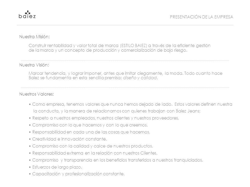 Nuestra Misión: Construir rentabilidad y valor total de marca (ESTILO BAIEZ) a través de la eficiente gestión de la marca y un concepto de producción