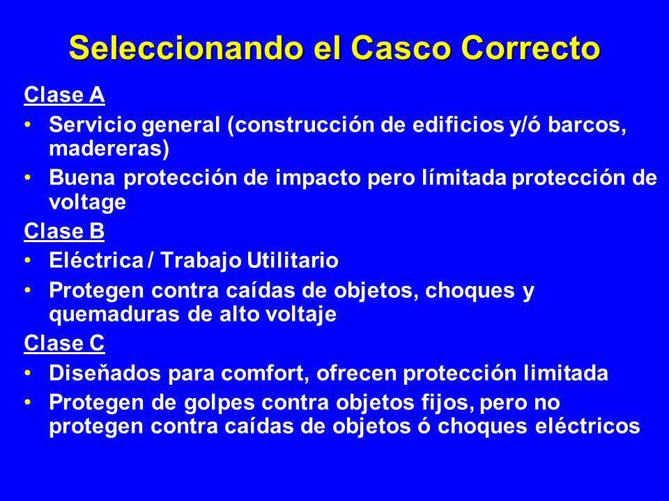 Seleccionando el Casco Correcto Clase A Servicio general (construcción de edificios y/ó barcos, madereras) Buena protección de impacto pero límitada p