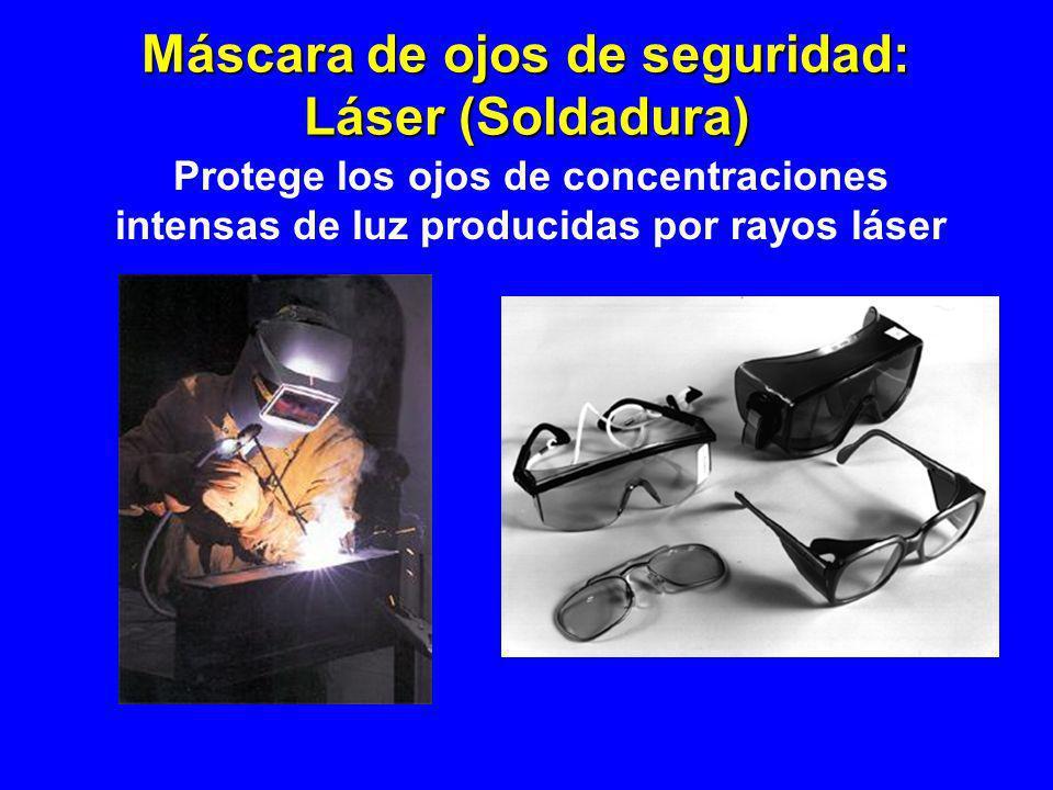 Máscara de ojos de seguridad: Láser (Soldadura) Protege los ojos de concentraciones intensas de luz producidas por rayos láser