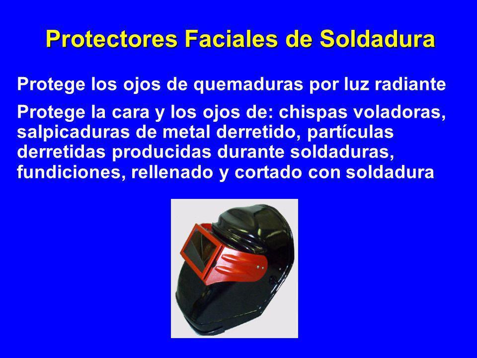 Protectores Faciales de Soldadura Protege los ojos de quemaduras por luz radiante Protege la cara y los ojos de: chispas voladoras, salpicaduras de me