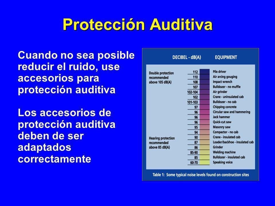 Cuando no sea posible reducir el ruido, use accesorios para protección auditiva Los accesorios de protección auditiva deben de ser adaptados correctam
