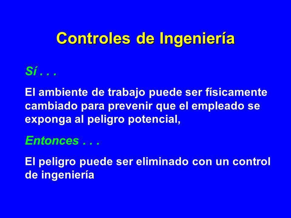 Controles de Ingeniería Sí... El ambiente de trabajo puede ser físicamente cambiado para prevenir que el empleado se exponga al peligro potencial, Ent