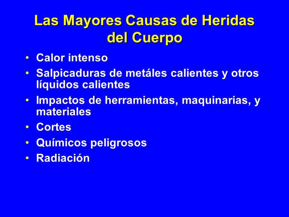 Las Mayores Causas de Heridas del Cuerpo Calor intenso Salpicaduras de metáles calientes y otros líquidos calientes Impactos de herramientas, maquinar