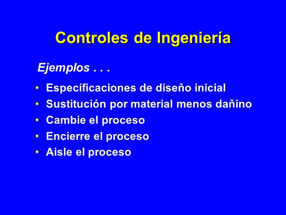 Controles de Ingeniería Específicaciones de diseňo inicial Sustitución por material menos daňino Cambie el proceso Encierre el proceso Aisle el proces