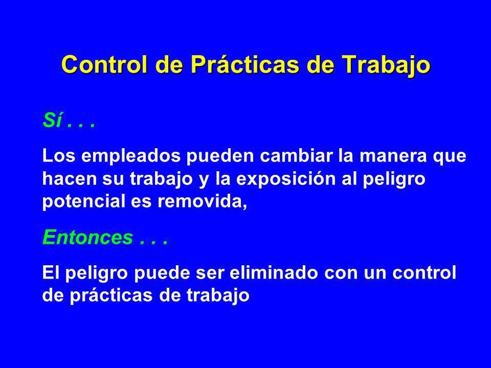 Control de Prácticas de Trabajo Sí... Los empleados pueden cambiar la manera que hacen su trabajo y la exposición al peligro potencial es removida, En
