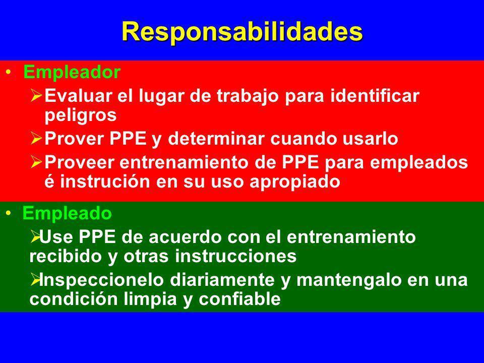 Responsabilidades Empleador Evaluar el lugar de trabajo para identificar peligros Prover PPE y determinar cuando usarlo Proveer entrenamiento de PPE p