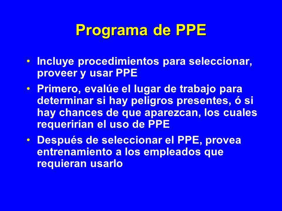 Programa de PPE Incluye procedimientos para seleccionar, proveer y usar PPE Primero, evalúe el lugar de trabajo para determinar si hay peligros presen
