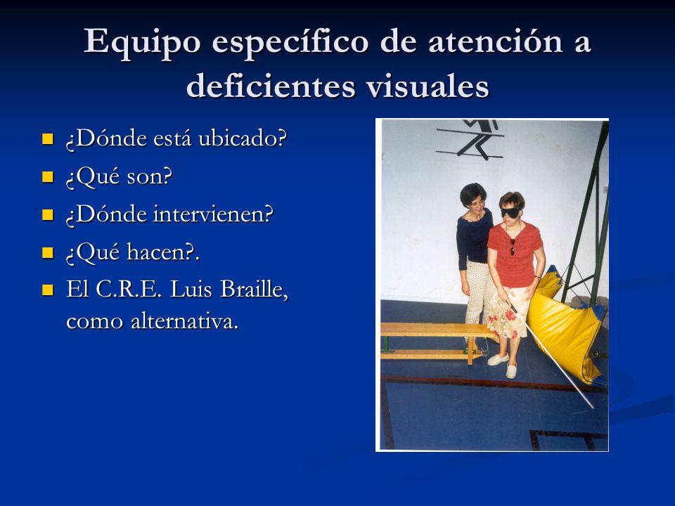 Equipo específico de atención a deficientes visuales ¿Dónde está ubicado? ¿Dónde está ubicado? ¿Qué son? ¿Qué son? ¿Dónde intervienen? ¿Dónde intervie