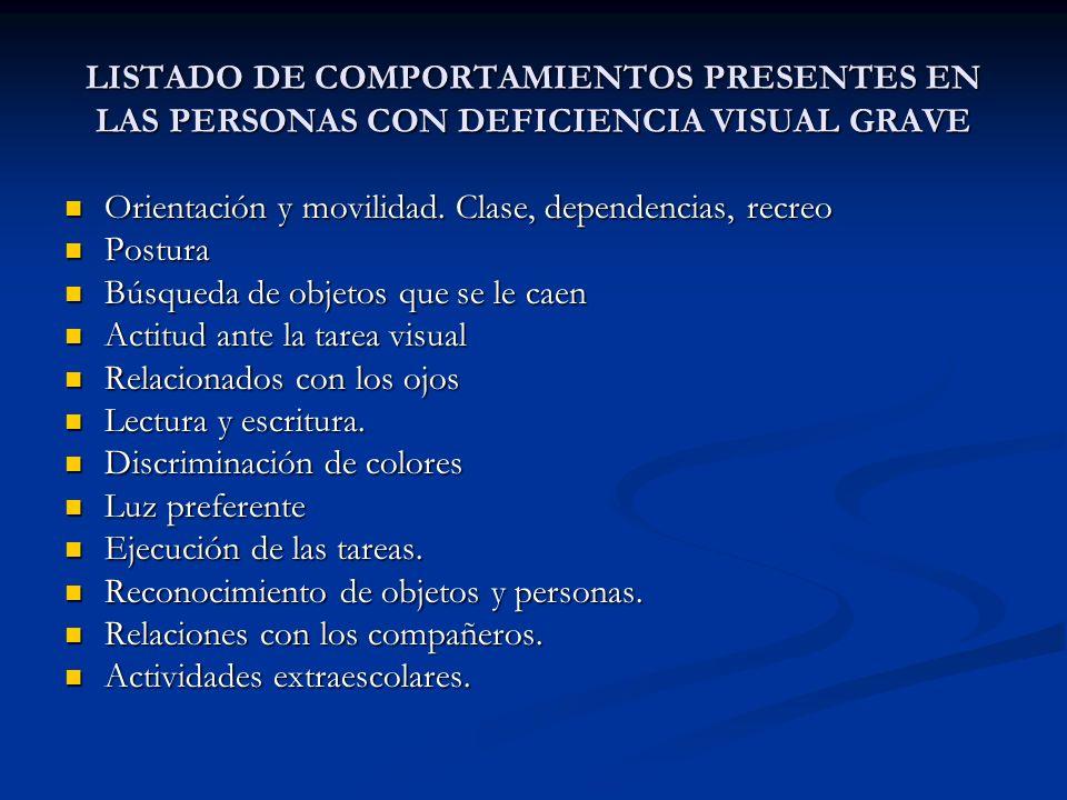 LISTADO DE COMPORTAMIENTOS PRESENTES EN LAS PERSONAS CON DEFICIENCIA VISUAL GRAVE Orientación y movilidad. Clase, dependencias, recreo Orientación y m