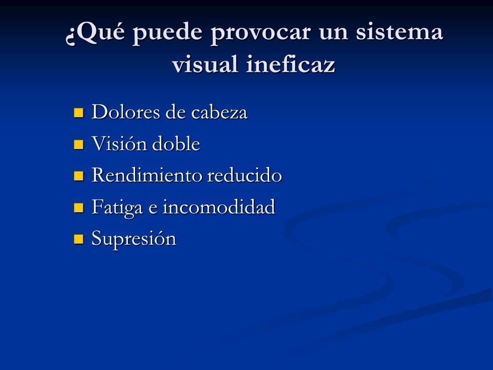 ¿Qué puede provocar un sistema visual ineficaz Dolores de cabeza Dolores de cabeza Visión doble Visión doble Rendimiento reducido Rendimiento reducido