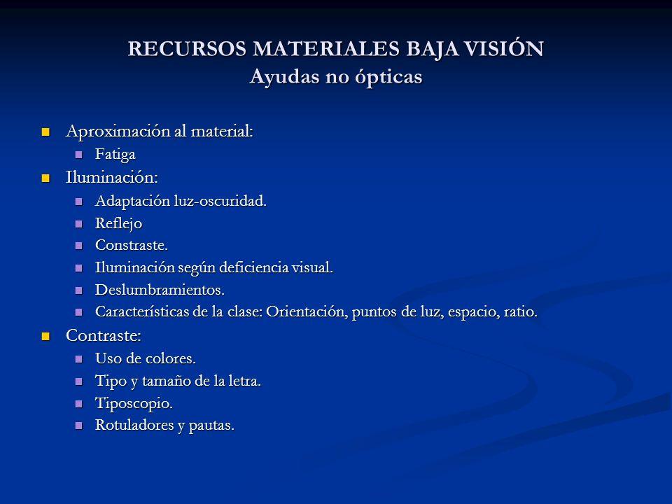 RECURSOS MATERIALES BAJA VISIÓN Ayudas no ópticas Aproximación al material: Aproximación al material: Fatiga Fatiga Iluminación: Iluminación: Adaptaci