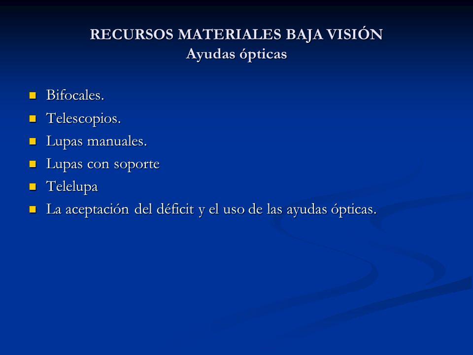 RECURSOS MATERIALES BAJA VISIÓN Ayudas ópticas Bifocales. Bifocales. Telescopios. Telescopios. Lupas manuales. Lupas manuales. Lupas con soporte Lupas