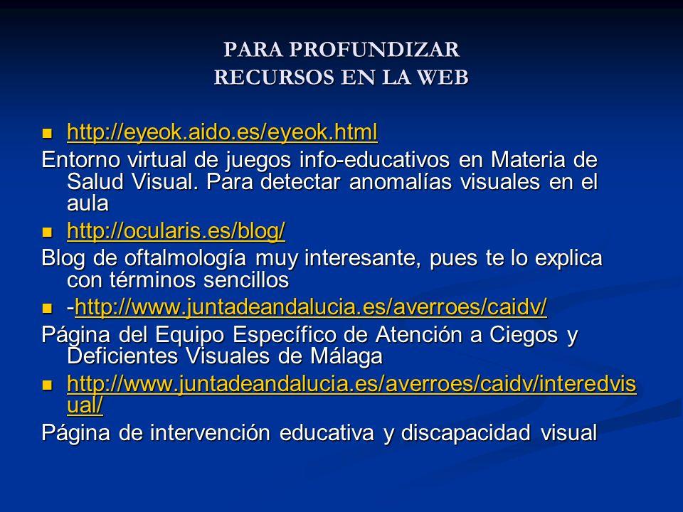 PARA PROFUNDIZAR RECURSOS EN LA WEB http://eyeok.aido.es/eyeok.html http://eyeok.aido.es/eyeok.html http://eyeok.aido.es/eyeok.html Entorno virtual de