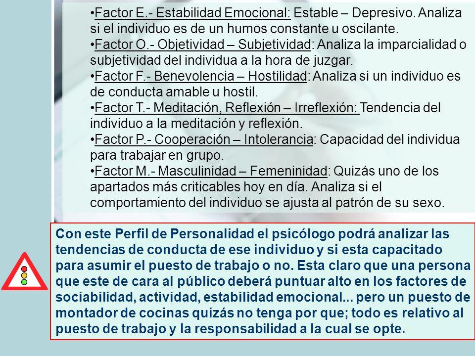Factor E.- Estabilidad Emocional: Estable – Depresivo. Analiza si el individuo es de un humos constante u oscilante. Factor O.- Objetividad – Subjetiv