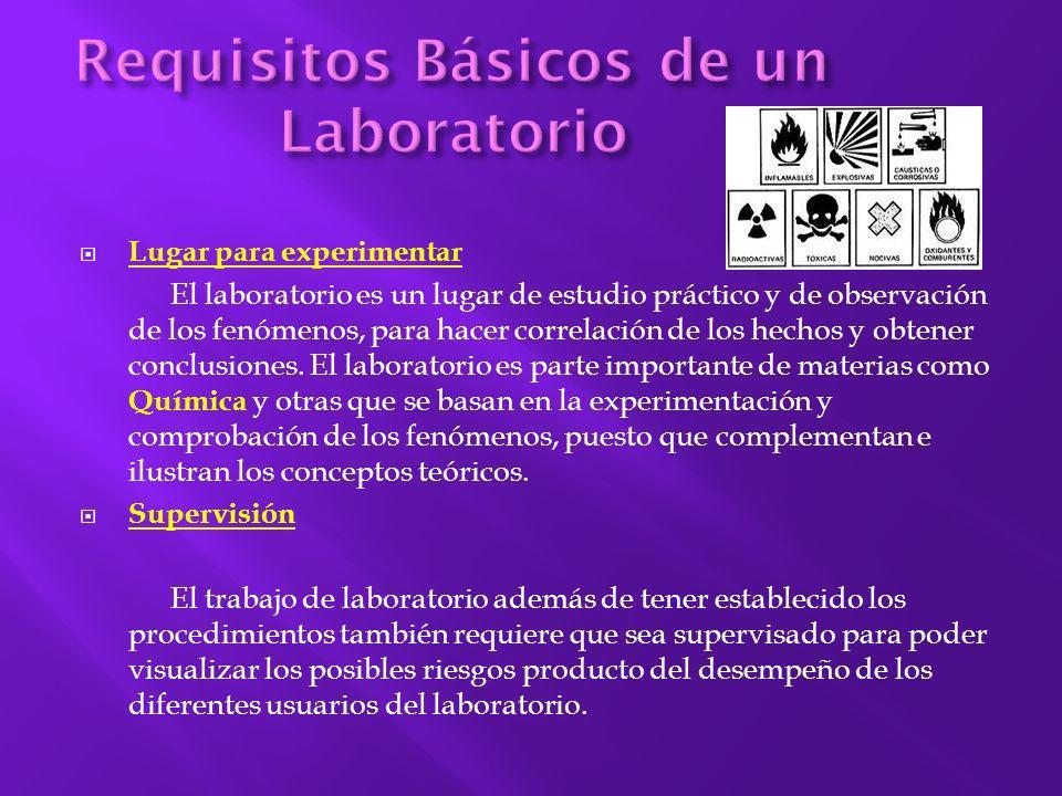 Lugar para experimentar El laboratorio es un lugar de estudio práctico y de observación de los fenómenos, para hacer correlación de los hechos y obten