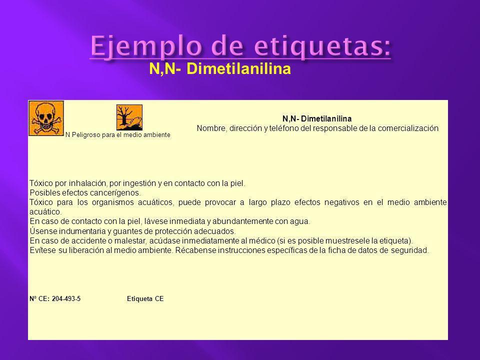 N,N- Dimetilanilina Nombre, dirección y teléfono del responsable de la comercialización T TóxicoN Peligroso para el medio ambiente Tóxico por inhalaci