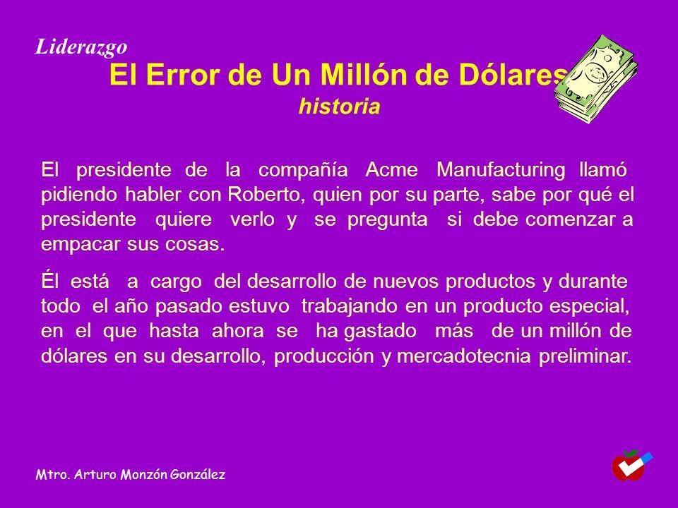 El Error de Un Millón de Dólares historia El presidente de la compañía Acme Manufacturing llamó pidiendo habler con Roberto, quien por su parte, sabe