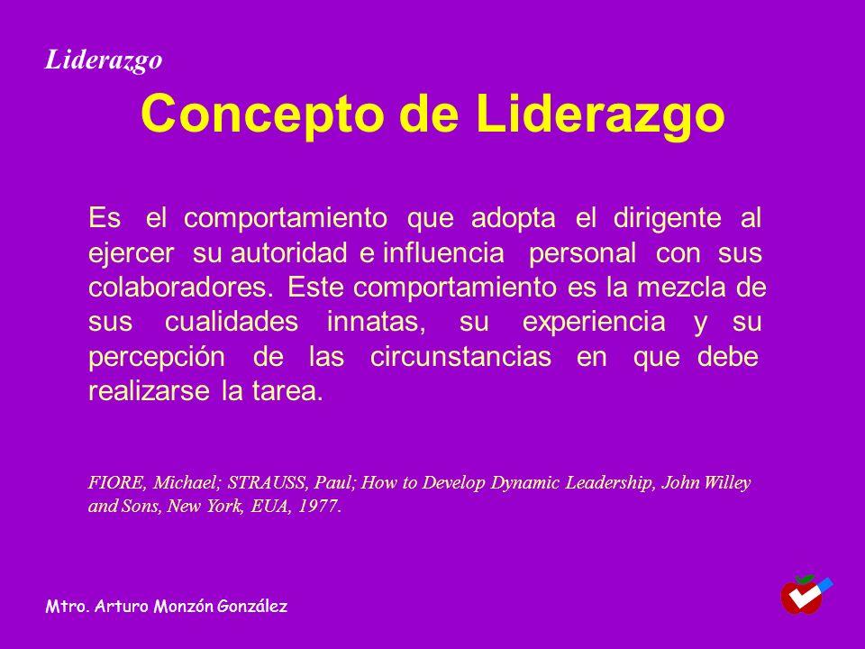 Concepto de Liderazgo Es el comportamiento que adopta el dirigente al ejercer su autoridad e influencia personal con sus colaboradores. Este comportam