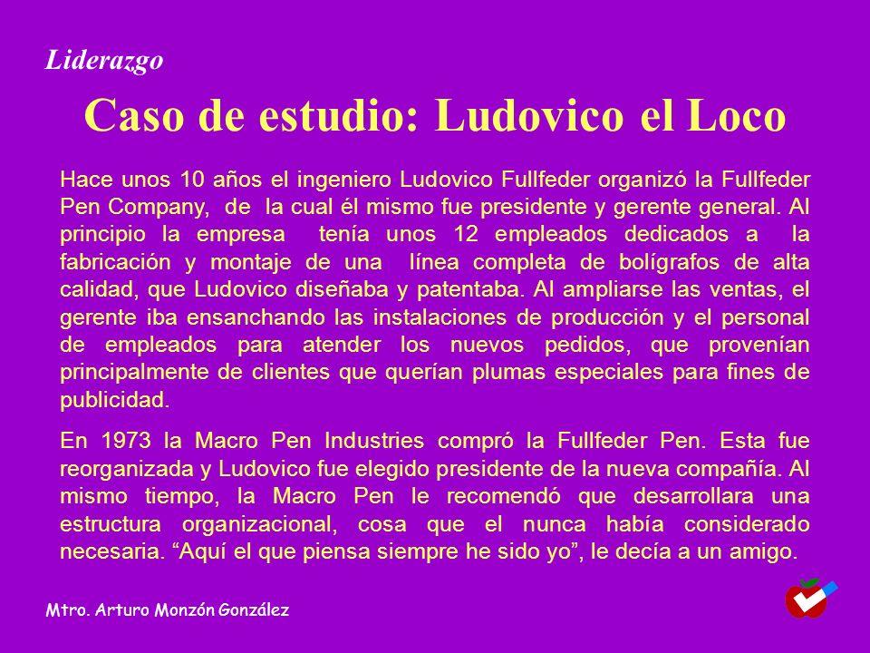 Caso de estudio: Ludovico el Loco Hace unos 10 años el ingeniero Ludovico Fullfeder organizó la Fullfeder Pen Company, de la cual él mismo fue preside
