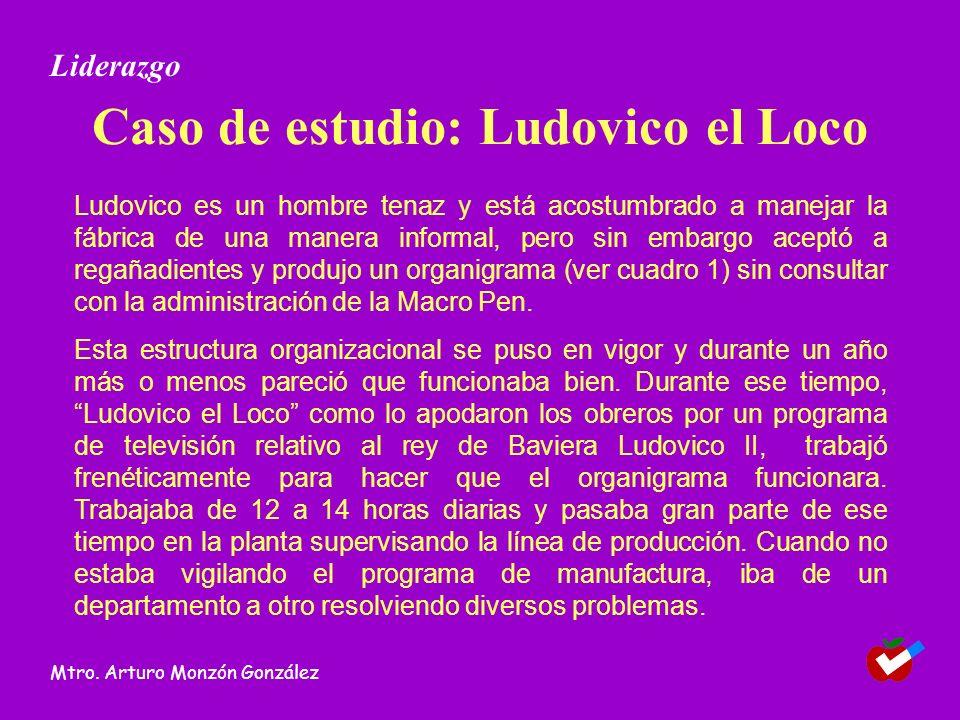 Caso de estudio: Ludovico el Loco Ludovico es un hombre tenaz y está acostumbrado a manejar la fábrica de una manera informal, pero sin embargo aceptó a regañadientes y produjo un organigrama (ver cuadro 1) sin consultar con la administración de la Macro Pen.