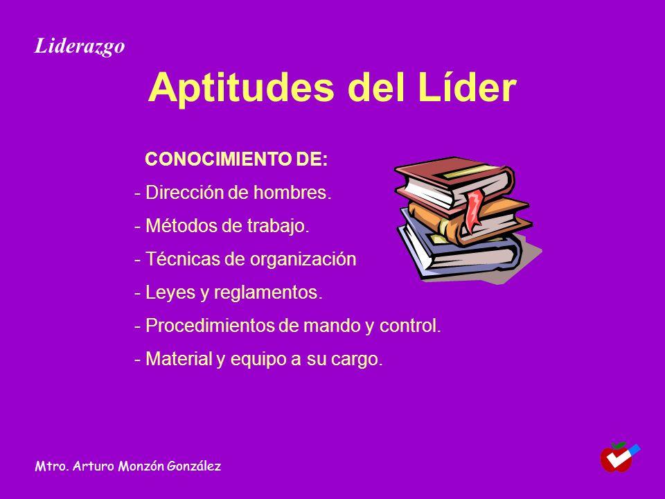 Aptitudes del Líder CONOCIMIENTO DE: - Dirección de hombres. - Métodos de trabajo. - Técnicas de organización - Leyes y reglamentos. - Procedimientos